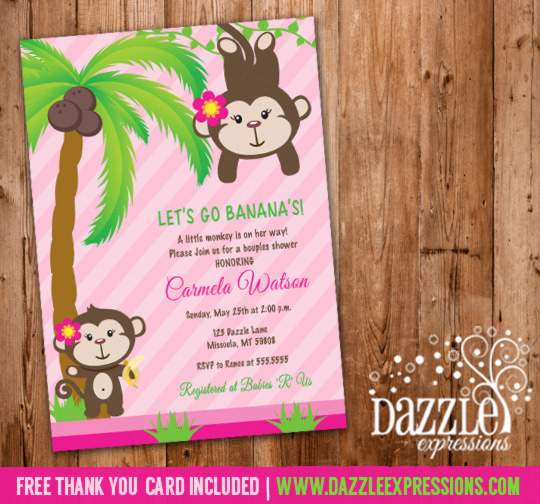 Girl Monkey Baby Shower Invitation - FREE thank you card included