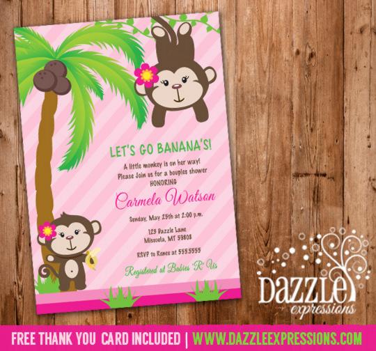 Monkey baby shower invitations for girls xh37 advancedmassagebysara best printable girl monkey baby shower invitation pink jungle free oj35 filmwisefo