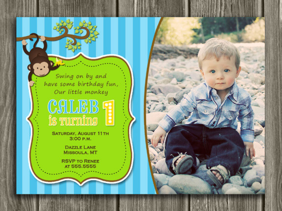 Monkey Birthday Invitation 4 - FREE thank you card