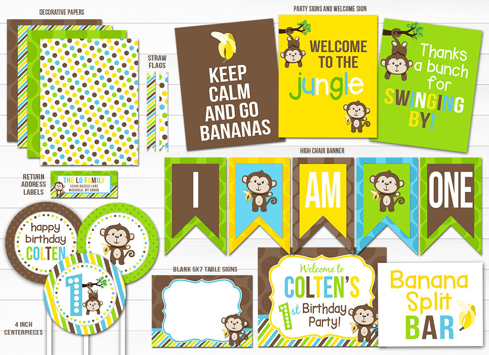 Monkey Complete Party Package - Printable