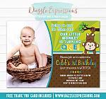 Monkey Birthday Invitation 5 - FREE thank you card