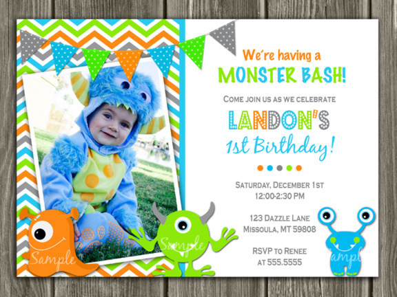 Monster Birthday Invitation 1 - Thank You Card Included