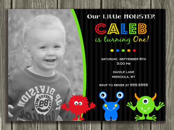Monster Birthday Invitation 3 - Thank You Card Included