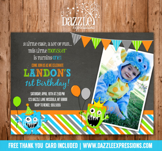 Monster Chalkboard Birthday Invitation - FREE thank you card included
