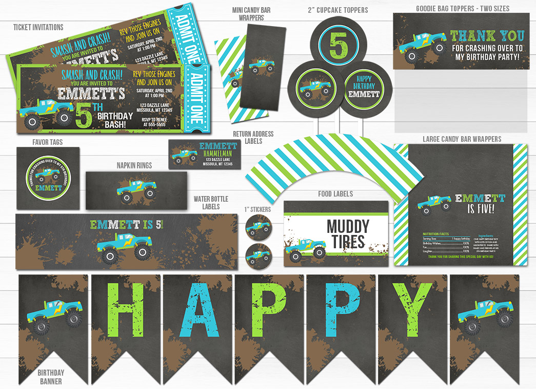 Monster Truck Chalkboard Party Package - Printable