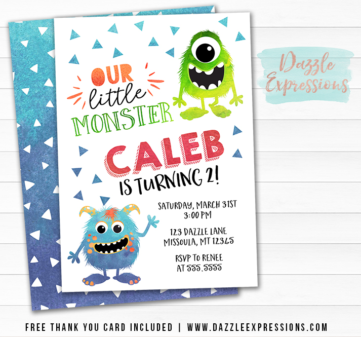 Monster Watercolor Invitation 1 - FREE thank you card