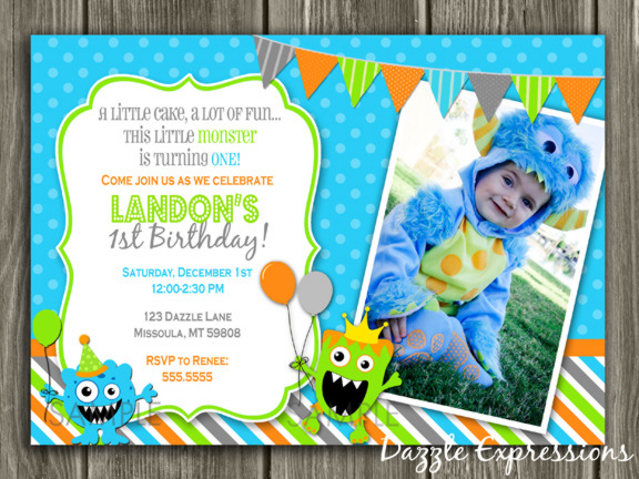 Monster Birthday Invitation 2 - Thank You Card Included