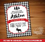 Moose Plaid Invitation 1 - FREE thank you card included