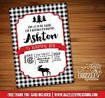 Moose Plaid Invitation 1 - FREE thank you card included