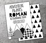 Adventure Awaits - Mountains and Trees Birthday Invitation - FREE thank you card