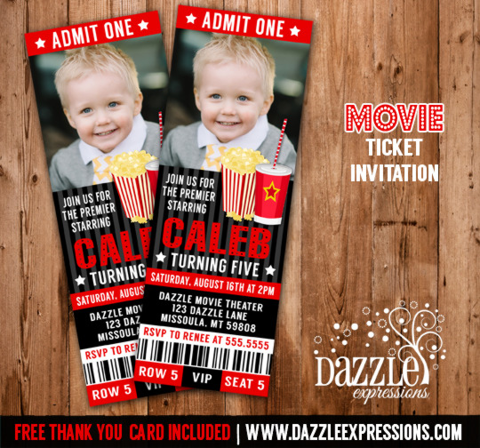 Movie Ticket Invitation 3   FREE Thank You Card Included  Free Printable Movie Ticket Invitations