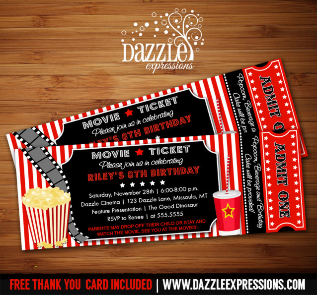 Movie Ticket Invitation 1 - FREE Thank You Card Included