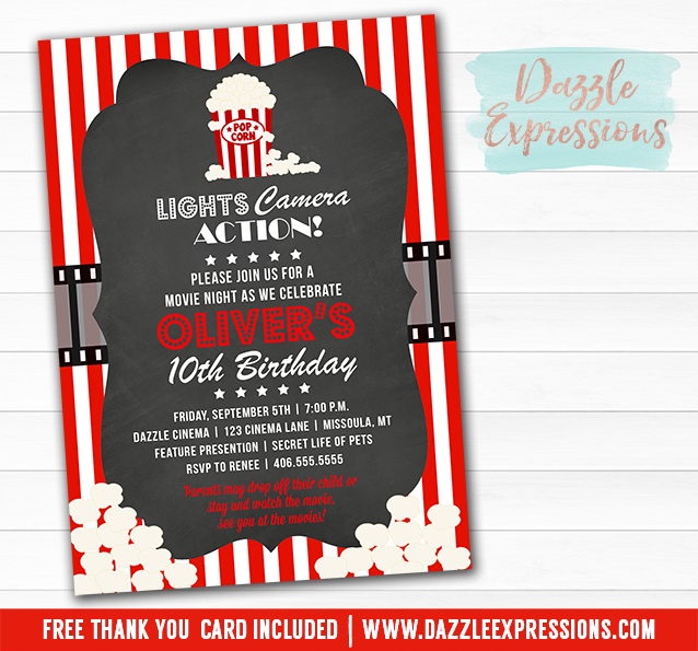 Printable Chalkboard Movie Night Birthday Invitation  Cinema Event