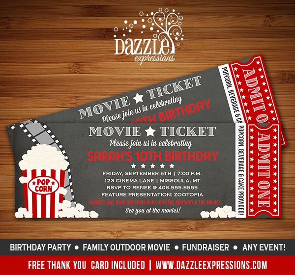 movie ticket chalkboard invitation free thank you card included