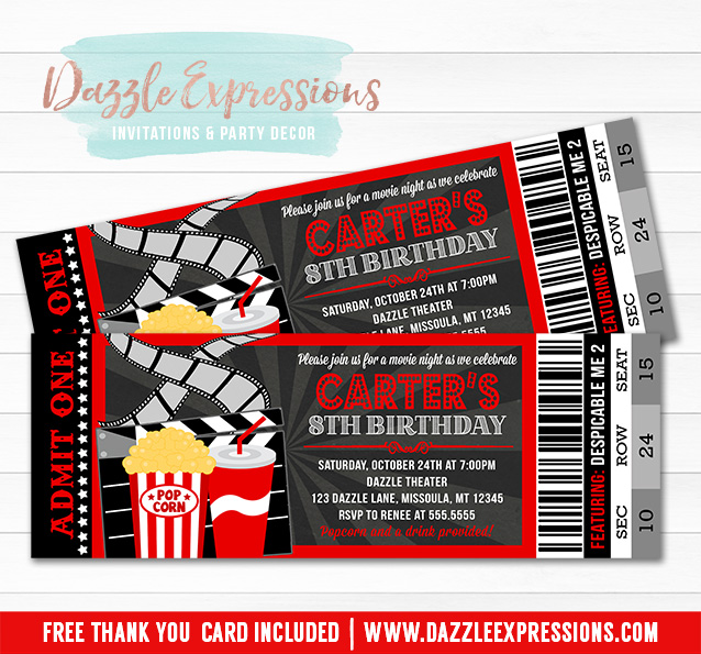 printable chalkboard movie ticket birthday invitations kids