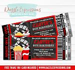 Movie Ticket Invitation 4 - FREE Thank You Card Included