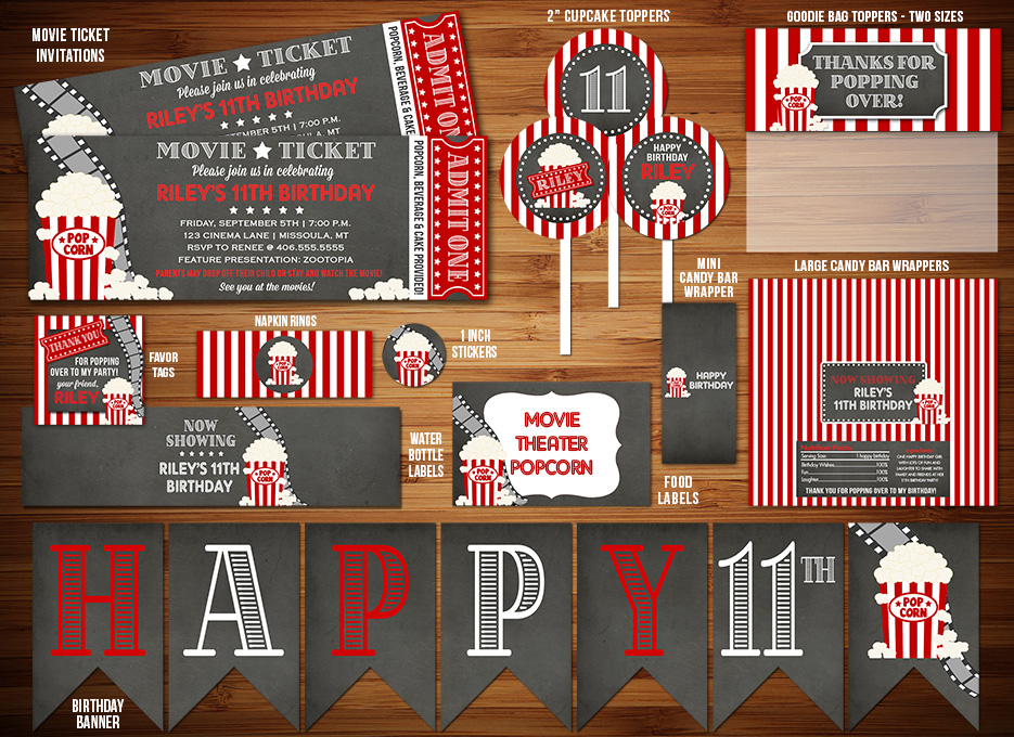 Movie Ticket Chalkboard Complete Party Package