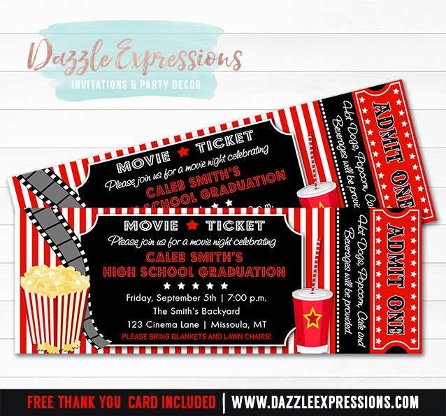 Beautiful Movie Ticket Graduation Party Invitation   FREE Thank You Card Included  Free Printable Movie Ticket Invitations