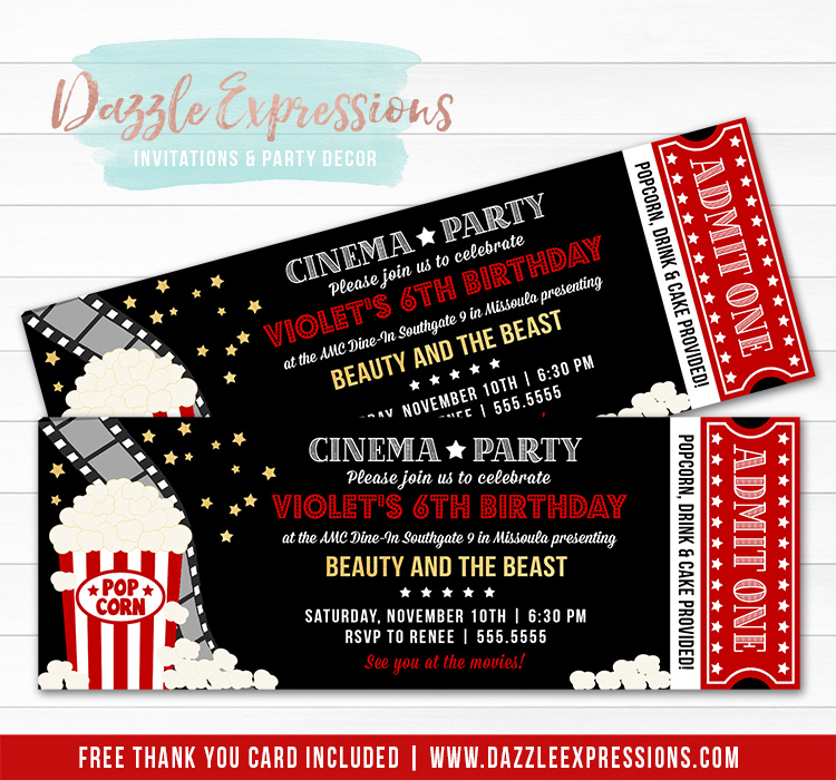 photo about Printable Movie Ticket Invitation identify Printable Video clip Theater Ticket Birthday Invitation - Cinema Bash - Hollywood Function - Backyard garden Video clip Underneath the Celebrities