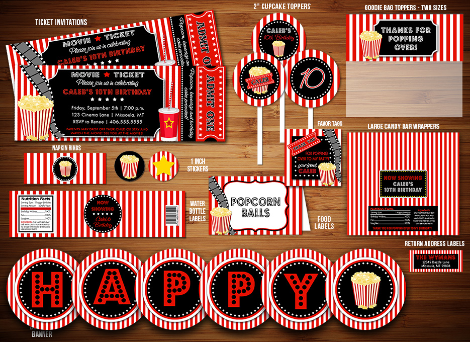Hollywood Craft Ideas For Kids Part - 19: Movie Night Ticket Complete Party Package