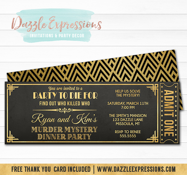 Printable murder mystery dinner party ticket invitation black murder mystery dinner party ticket invitation free back side design stopboris Images
