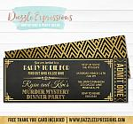 Murder Mystery Dinner Party Ticket Invitation - FREE back side design
