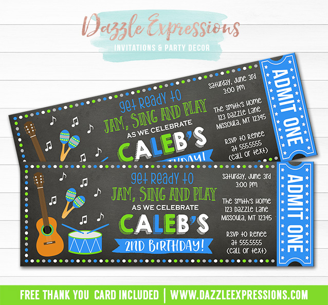 Musical Instrument Chalkboard Ticket Invitation - FREE thank you card included