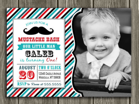 Mustache Birthday Invitation 1 - Thank You Card Included