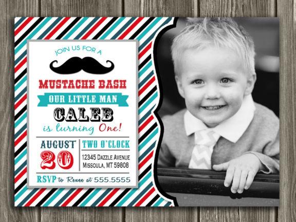 Printable Mustache Bash Birthday Invitation Little Man First Birthday