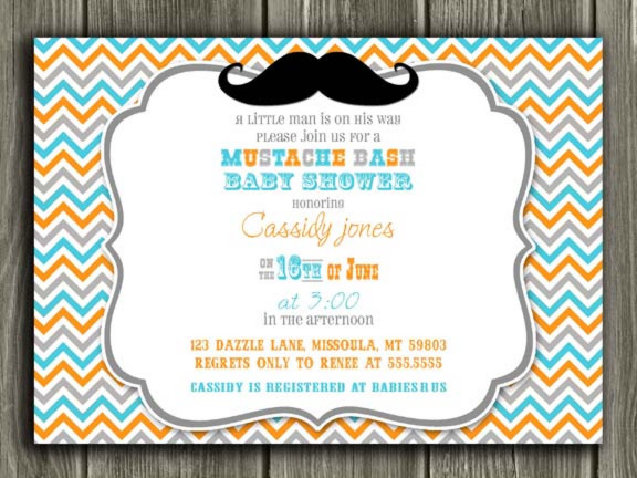 Mustache Baby Shower Invitation Thank You Card Included