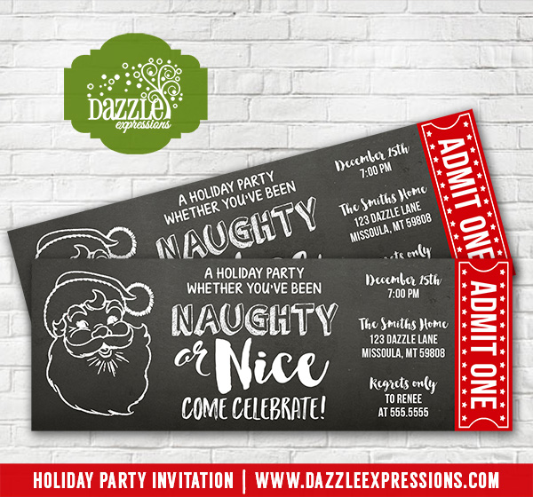 printable naughty or nice holiday party chalkboard ticket invitation