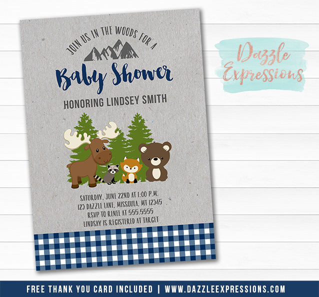 Navy Blue Plaid Woodland Baby Shower Invitation - FREE thank you card