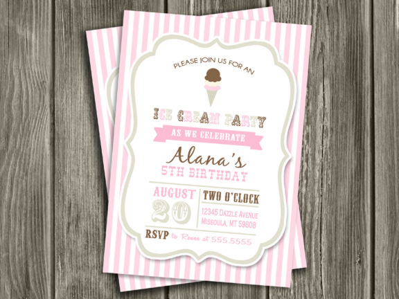 Neapolitan Ice Cream Invitation - Thank You Card Included