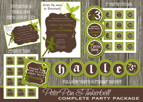 Fairy and Pirate Boy Birthday Party Package - Brown and Green -  Printable