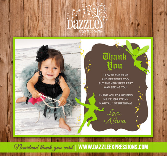 Peter Pan and Tinkerbell Inspired Photo Thank You Card - Printable