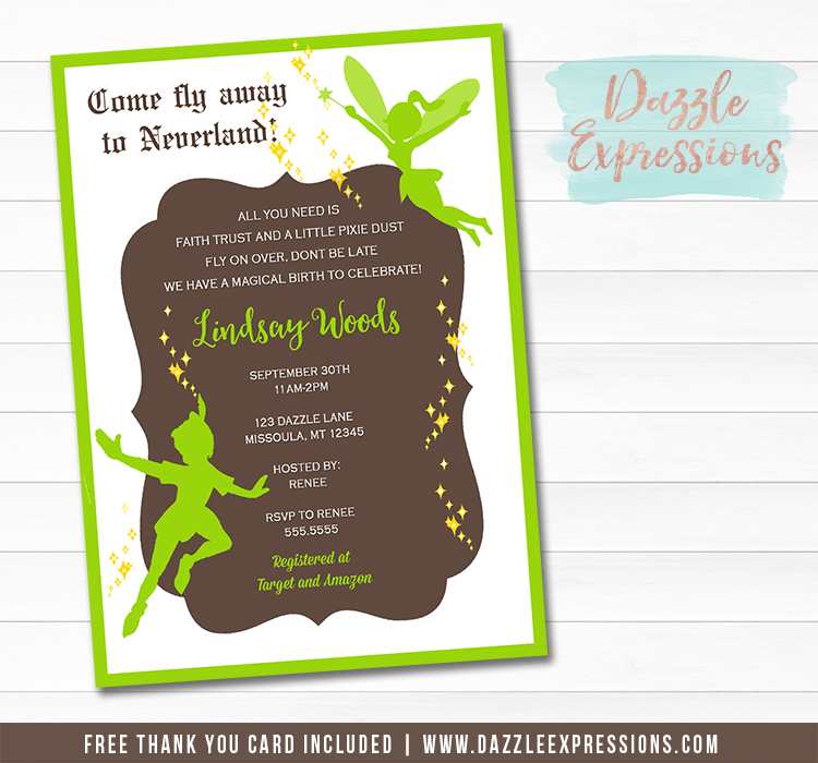 Neverland Baby shower Invitation - FREE thank you card included