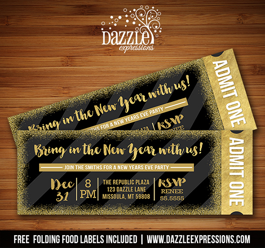 printable new years eve party glitter ticket invitation