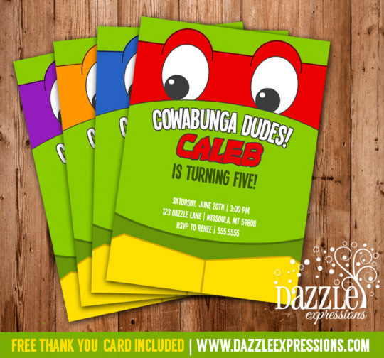 ninja turtle inspired birthday invitation free thank you card included