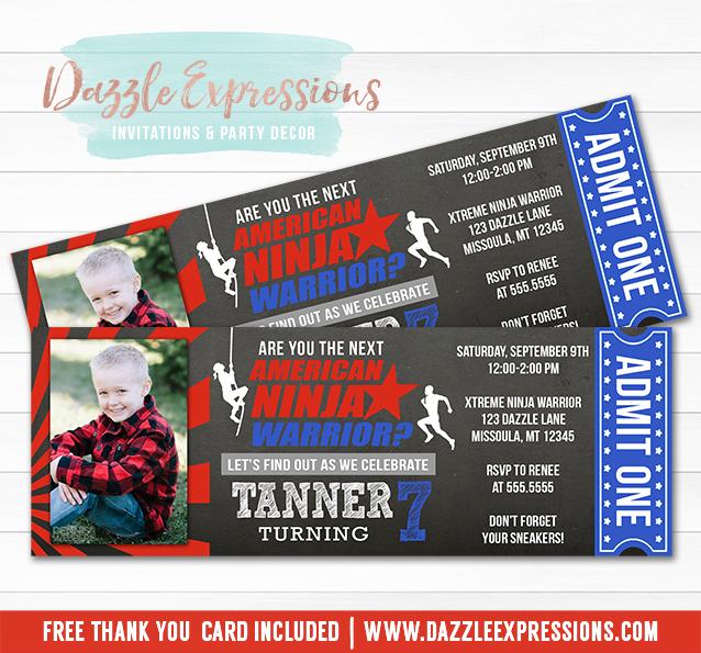 Ninja Warrior Inspired Chalkboard Ticket Invitation 3 - FREE thank you card included