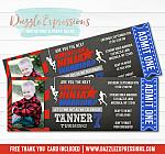 Ninja Warrior Inspired Chalkboard Ticket Invitation 3 - FREE thank you card included