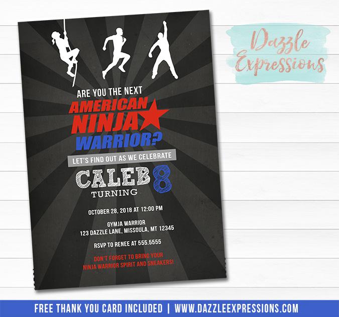 Ninja Warrior Inspired Chalkboard Birthday Invitation - FREE thank you card included