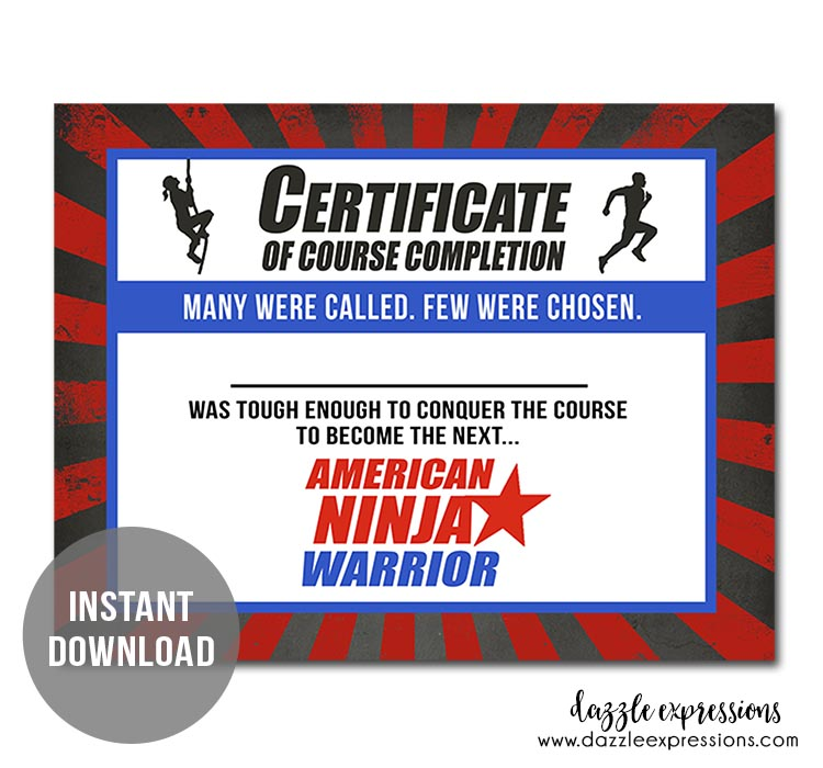 Instant Download - Ninja Warrior Certificate