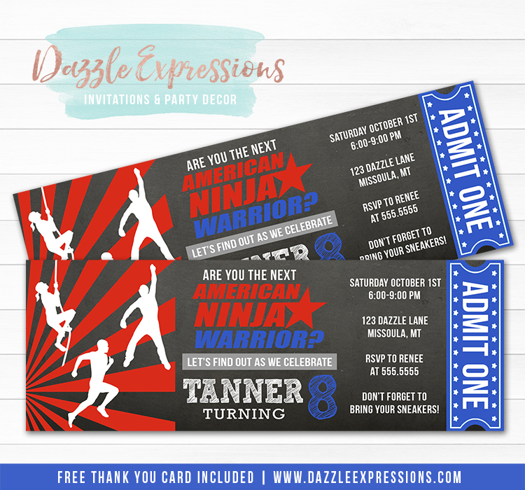 Ninja Warrior Inspired Chalkboard Ticket Invitation 1 - FREE thank you card included