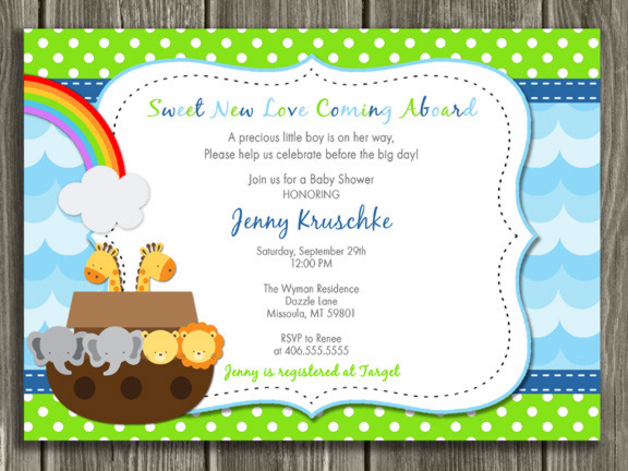 noah 39 s ark baby shower invitation blue thank you card included