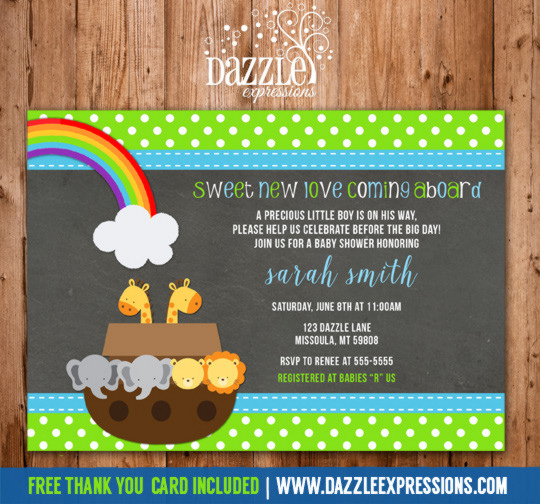 Printable Chalkboard Noahs Ark Baby Shower Invitation Animals