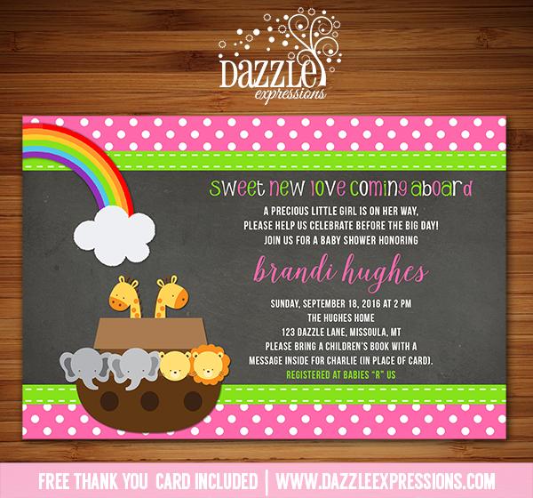 Noahs Ark Chalkboard Baby Shower Invitation 2 - FREE thank you card