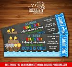 Noahs Ark Chalkboard Ticket Invitation - FREE thank you card