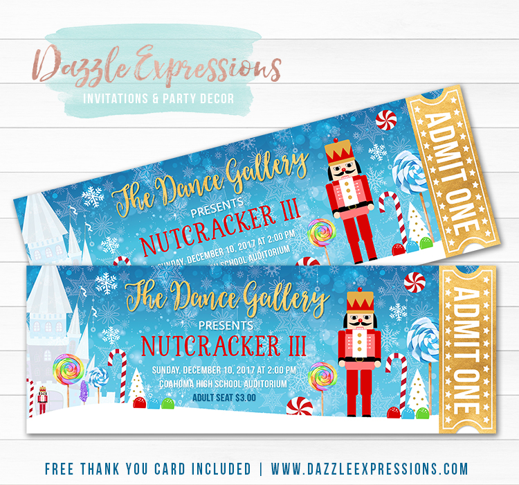 Nutcracker Ticket Invitation - FREE thank you card
