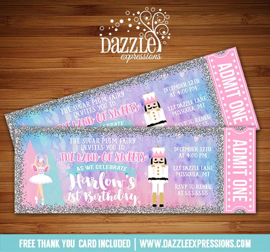 printable glitter nutcracker and ballerina ticket birthday