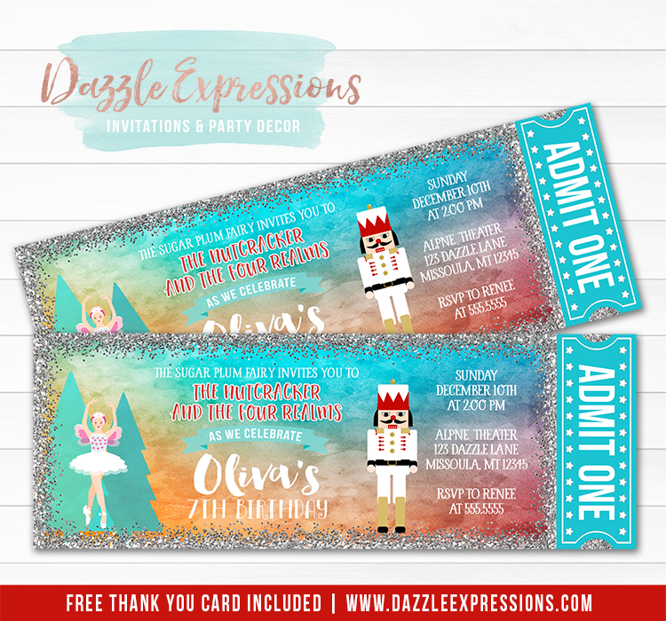 Nutcracker and Ballerina Ticket Invitation 2 - FREE thank you card